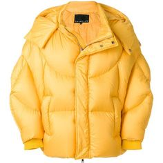 Chen Peng Oversized Shell Puffer Jacket ($1,290) ❤ liked on Polyvore featuring outerwear, jackets, yellow, unisex jackets, yellow puffer jacket, feather jacket, puffy jacket and oversized puffer jacket