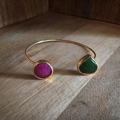 Double bangle with pink and green agate/ Gold plated jewelry from Hürrem Sultan Jewelry