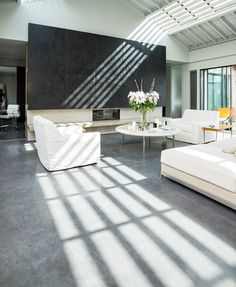 Stunning West London apartment featuring a Mayfair Grey Lazenby Polished Concrete Floor with a Satin Architect: Gumuchdjian Architects Photographer: Jeremy Philips Flooring, Interior Decorating, Trending Decor, Home, Interior, Polished Concrete Kitchen, Concrete Floors, Concrete Floors In House, Home Decor