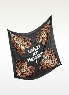Moschino Animal Print Cashmere and Silk Wrap AMD