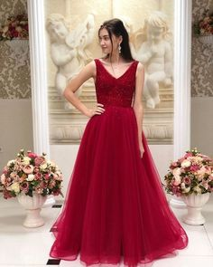 Princess V Neck Red Long Formal Dress , Charming Prom Dress – formalgowns Cute Prom Dresses, Elegant Dresses, Formal Dresses, Banquet Dresses, Long Dresses, Bridesmaid Dresses, Wedding Dresses, Cute Princess, Dress For You