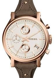 Women's Fossil 'Original Boyfriend' Chronograph Leather Strap Watch, 38mm - Grey/ Rose Gold