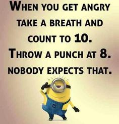 Minions, angry count to ten. 。◕‿◕。 See my Despicable Me Minions pins … - Humor on Funny Shit, Haha Funny, Hilarious, Fun Funny, Funny Stuff, Funny Laugh, Funny Life, Funny Humor, Humor Minion