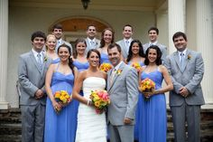 Blue-and-Grey-Bridal-Party.... looking at the color combination of cornflower blue and grey here.