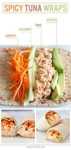 Tuna Wraps Make lunch interesting again with this Spicy Tuna Wrap recipe featuring Wild Selections® Solid White Albacore.Make lunch interesting again with this Spicy Tuna Wrap recipe featuring Wild Selections® Solid White Albacore. Lunch Recipes, Cooking Recipes, Recipes Dinner, Tuna Lunch Ideas, Tuna Sandwich Recipes, Dinner Ideas, Lunch Box, Office Lunch Ideas, College Food Recipes