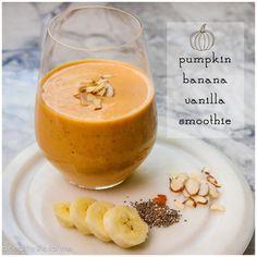 Pumpkin-Banana-Vanilla-Smoothie Pumpkin Smoothie, Apple Smoothies, Breakfast Smoothies, Healthy Smoothies, Healthy Drinks, Carrot Smoothie, Yogurt Smoothies, Healthy Eats, Healthy Foods