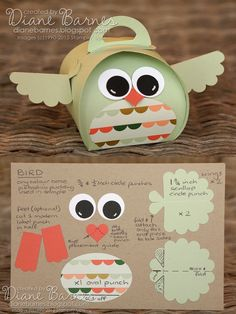 Cute bird box & instructions, made with Stampin' Up curvy keepsake die & punches. By Di Barnes #colourmehappy