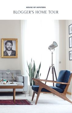 Living Room with a Mid Century Modern and Bohemian style and look. Click thru to see more.