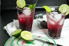 This virgin blackberry mojito is perfect for those hot summer days when you want a fruity drink but don't want to bother with alcohol! | chattavore.com Fun Cocktails, Party Drinks, Cocktail Drinks, Fun Drinks, Yummy Drinks, Cocktail Recipes, Drink Recipes, Paleo Recipes, Summer Beverages