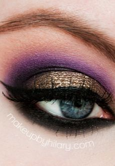 Smokey eye makeup. Gorgeous purple and gold