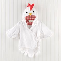 """""""Barnyard Bathtime"""" Chicken Hooded Spa Robe Whoever gets a visit from this eggs-traordinary chick is one clucky newborn! Baby Aspen's chicken spa towel is making a big splash during every barnyard bathtime! Pink Shark, Cute Gifts For Friends, Baby Spa, Pink Cow, Kids Robes, Spa Towels, Baby Towel, Baby Cartoon, Kids Bath"""