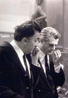 """Marcello Mastroianni e Federico Fellini sul set del film """"8 e 1/2"""" (1963) di F. Fellini"""