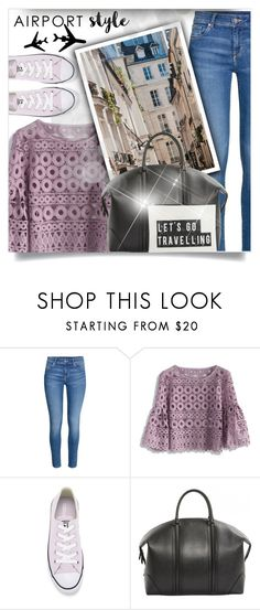 """""""Untitled #968"""" by beautifulplace ❤ liked on Polyvore featuring H&M, Chicwish, Converse, Givenchy, House Doctor and airportstyle"""