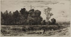 """""""Evening [Nonquitt],"""" Robert Swain Gifford, 1878, etching on cream paper, 5 x 8 3/4"""", Pennsylvania Academy of the Fine Arts."""