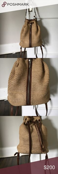 """Elizabeth And James Cynnie woven backpack Perfect summer backpack. It is preloved, so please do not assume that the condition is going to be like new. 12""""H x 13""""W x 7 1/2""""D. Elizabeth and James Bags Backpacks"""