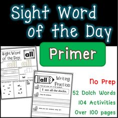 52 words2 activities per word104 pages of practice!Allow your students to practice a new sight word each day! Students interact with each word a minimum of… Alphabet Activities, Reading Activities, Student Binders, Kindergarten Language Arts, Letter G, Writing Practice, Word Of The Day, Sight Words, Mini Books