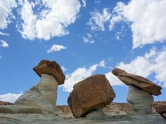 Three differently-shaped hoodoos at Stud Horse Point, along the west edge of Glen Canyon National Recreation Area, Utah