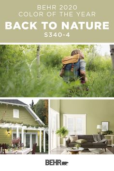 Introducing the new BEHR® 2020 Colour of the Year: Back to Nature! It perfectly captures the essence of the subtle and effortless green that can be found in a wilderness landscape or an indoor garden. Click below for full colour details to learn more. Behr Exterior Paint Colors, Behr Colors, Wall Colors, Trending Paint Colors, Best Paint Colors, Green Dining Room, Green Rooms, Outdoor House Paint, Family Room Walls
