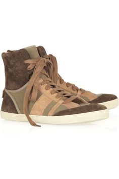 Chloé Leather-trimmed canvas and suede high-top sneakers