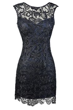 Alythea Navy Metallic Lace Overlay Fitted Dress www.lilyboutique.com