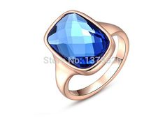 Find More Rings Information about Free shipping AC0047 new 2014 hot sale women's blue rhinestone mosaic ring austrian crystal rose gold plated rings for women,High Quality Rings from New Day Mall on Aliexpress.com