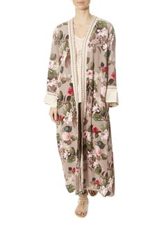 This is the Multi Floral Kimono Robe by stunning brand Johnny Was. This long Kimono Robe features wide sleeves and delicate floral detailing. Johnny Was Clothing, Long Kimono, Leopard Dress, Evening Outfits, Floral Kimono, White Trim, Striped Shorts, Yellow Dress, Cardigans