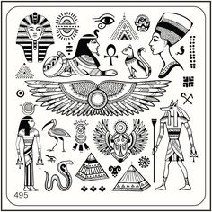 Moyou Square Stamping Art Image Plate 495 Egypt Style, Pyramid, Pharaoh, Symbol