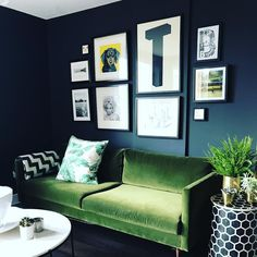 Gorgeous styling of the Swoon Editions mid-century Tivoli three seater sofa in fern velvet. Shop here: https://www.finddesign.co.uk/product/tivoli-two-seater-sofa-green-velvet/