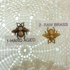 1 USA fine brass stamped bee. Pick raw brass or hand aged brass when adding to your cart.