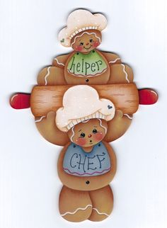 E-PATTERN: A CHEF AND HIS HELPER GINGERBREAD: Sagoma in legno