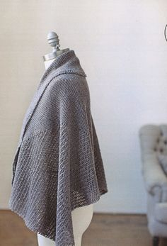 Ferrous Wrap from Brooklyn Tweed: Women's wrap with finished chest dimension of 25x50 (30x60, 25x80, 30x80)-inches.  You will need 4 (6, 6, 7) skeins of Brooklyn Tweed Loft, [Alternate version not shown is a shaped wrap. Dimensions are 25x50 (30x60, 25x65, 30x70)-inches and will need 6 (8, 8, 10) skeins], one 32-inch circular needle or straight needle in US 7 (4.5 mm) OR size needle to obtain gauge.  Gauge is 16 stitches and 32 rows = 4 inches in stockinette stitch. $10.75