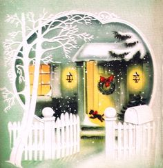 Winter Doorway & Scottie Dog Vintage Christmas Card
