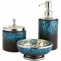 Pea Mosaic Bath Accessories Can Be Made With The Eggshell Technique On Old Jars Bottles Painted Metallic Blue And Black