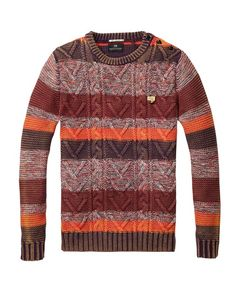Striped Colour Block Crew Neck Pull > Mens Clothing > Pullovers at Scotch & Soda