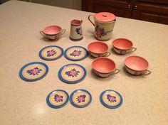 Vintage Ohio Art Tin Litho Tea Set 15 Pieces Pink Roses Flowers Pretend Play   eBay