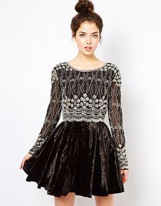 Virgos Lounge Soraya Embellished Skater Dress With Velvet Skirt