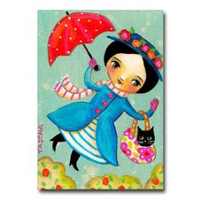 ORIGINAL flying Mary Poppins with Black CAT folk art acrylic painting on canvas by TASCHA