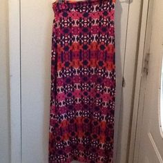 Fold over maxi skirt with 2 side slits. Charlotte Russe fold over maxi skirt with 2 side slits.  Size medium.  Navy blue, white, black, orange and purple. Charlotte Russe Skirts Maxi