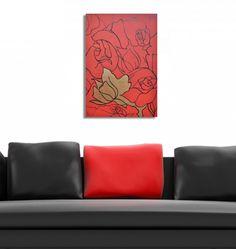Czerwone róże/obraz akrylowo-olejny
