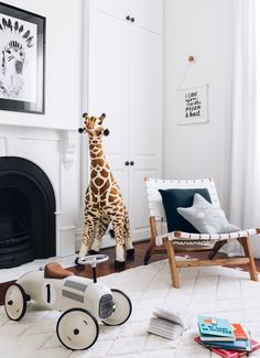Monochrome Nursery With Wooden Accents - Via Oheightohnine