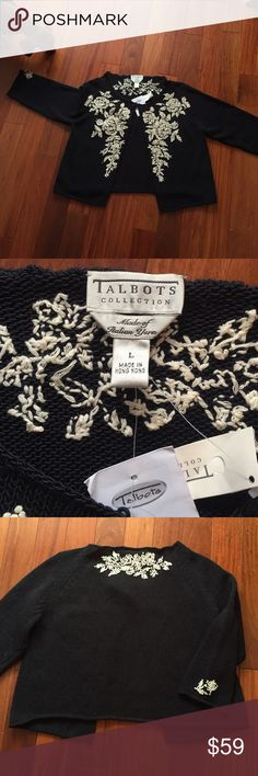 Talbots's Sweater Beautiful NAVY Cotton (89%) knitted cardigan. Hook closer at neckline.  Cream tiny knotted roses that make up the embroidered look. Great look with jeans or a dress! Talbots Sweaters Cardigans