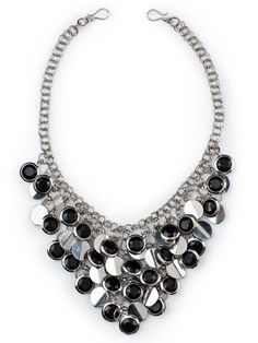 """Posh- 22"""" A luxurious drape of silver accented black beads and cascading silver discs make this an indulgently stylish statement necklace that can be worn alone or layered with a simpler necklace. $78 #posh #yourstylemialisia"""