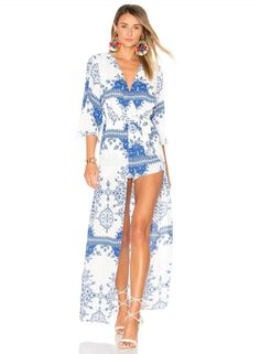 V Neck 3/4 Sleeve Pattern Print Dress with Belt