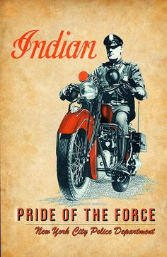 Indian Motorcycle Pride of the Force NYPD Poster