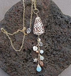 Shell Gemstone Necklace Long Gold Chain OOAK by HanaMauiCreations, $80.00