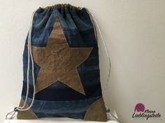 Upcycling Turnbeutel mit Snappap Stern #turnbeutel #snappap #jeansupcycling #upcycling #denim