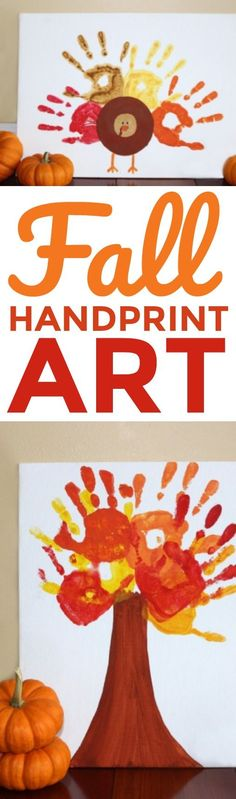 Looking for a super fun art project for your kiddos as the weather  gets chillier and activities migrate indoors? These fall handprint art canvases  are the perfect solution for you! #diy #crafts #kidscrafts #projects #diycrafts #diyprojects  #fundiys #funprojects #diyideas #craftprojects #diyprojectidea #kidscraftidea  #falldecor #fallcrafts #diyfallideas #fall #autumn Autumn Activities For Kids, Fall Crafts For Kids, Crafts For Girls, Holiday Crafts, Art For Kids, Toddler Art, Toddler Crafts, Preschool Crafts, Kid Crafts