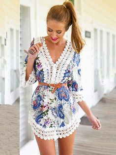 Blue V-neck Printed Lace Accent Half Sleeve Chiffon Mini Dress