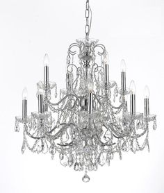 Crystorama Solid Brass Crystal Chandelier Accented with Swarovski Spectra Crystal 8 Lights - Polished Chrome - 3228-CH-CL-SAQ