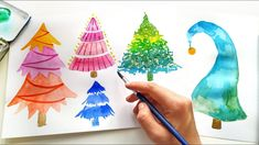 DIY Watercolor Christmas Tree - Easy Ideas for Card Making \ Painting for Beginners How to paint colorful Xmas tree - tutorial in real time. Painting ideas f. Watercolor Christmas Tree, Colorful Christmas Tree, Watercolor Trees, Diy Christmas Tree, Simple Christmas, Handmade Christmas, Xmas, Christmas Cards To Make, Card Making